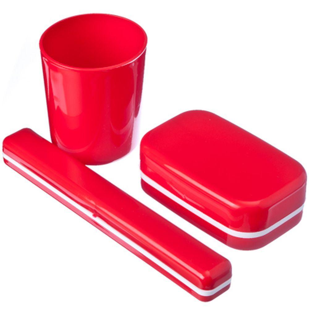 Набор для ванной комнаты Полимербыт ДОРОЖНЫЙ НАБОР, красный набор дорожный мыльница зубная щетка и футляр мультидом tl34 93 в ассортименте