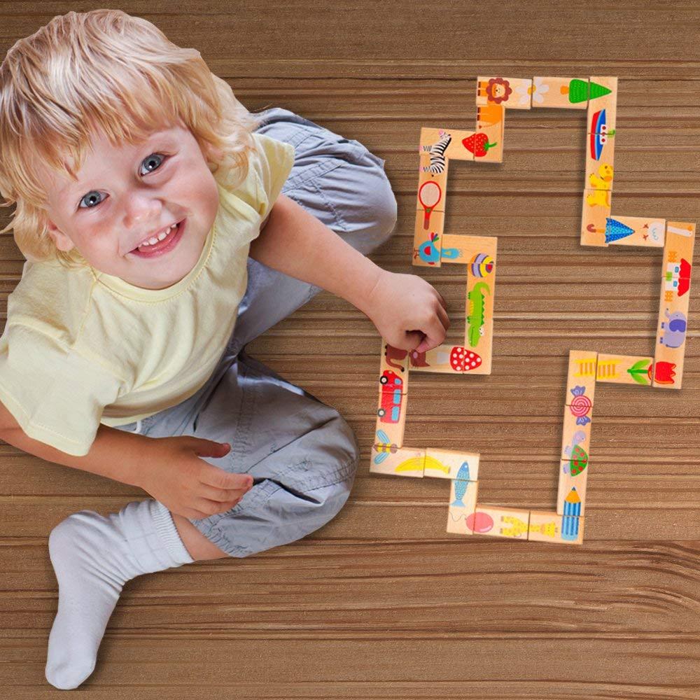 Домино BeeZee Toys Развивающая настольная деревянная игра «Домино Дракон», головоломка пазл для малышей, 28 животных разноцветный развивающая игра rico домино зоопарк