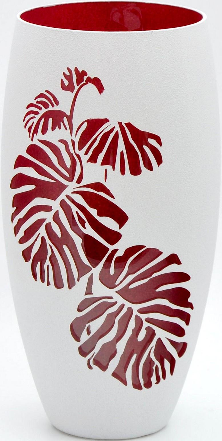 Ваза Яркий штрих sh160.1, белый7518/300/sh160.1Стеклянная ваза, ручная роспись, высота 300 мм