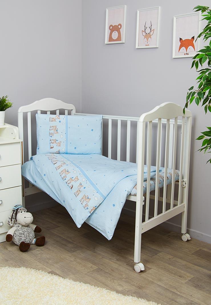 Фото - Комплект белья для новорожденных Сонный гномик Оленята, голубой комплект белья для новорожденных сонный гномик жирафик бежевый белый