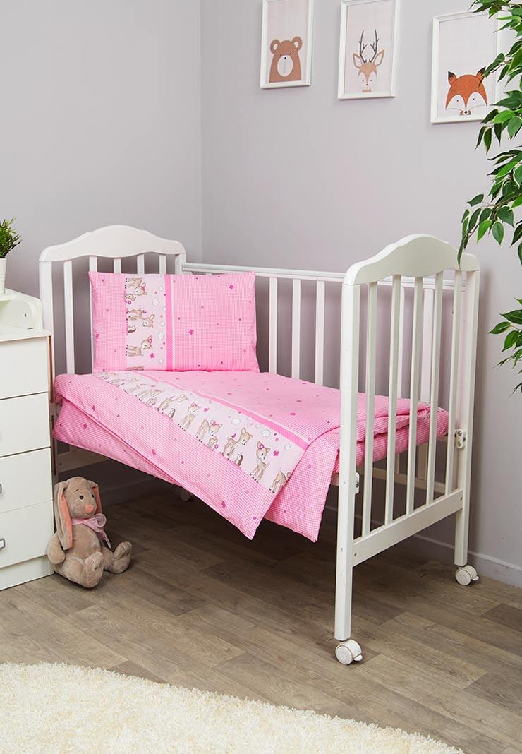 Комплект белья для новорожденных Сонный гномик Оленята, розовый комплект постельного белья детский bonne fee опдр 110х140 3 розовый