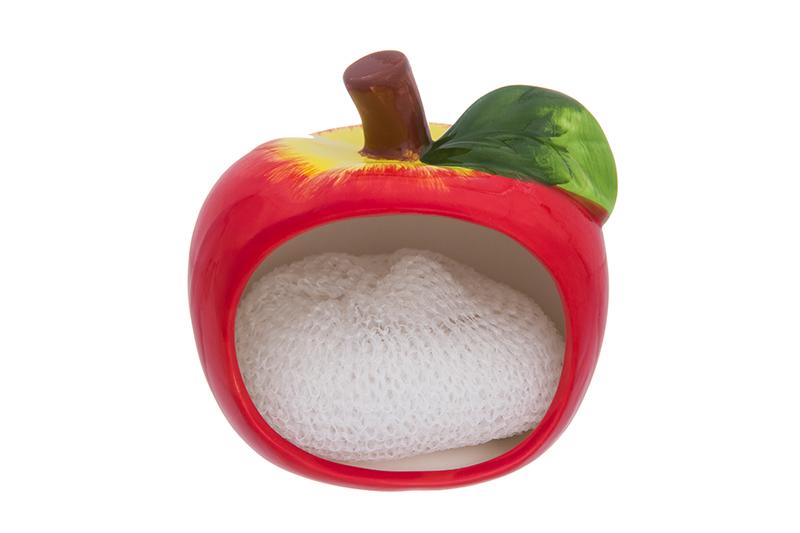 Фото - Подставка для губки Elan Gallery Яблоко, красный, зеленый подставка для губки elan gallery сова с цветком с губкой цвет бежевый 9 х 7 6 х 10 5 см