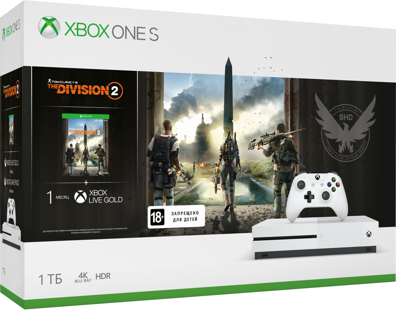 Игровая приставка Xbox One S 1 ТБ, 40907, белый + Tom Clancy