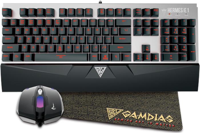 Комбо-набор Gamdias: маханическая клавиатура с подсветкой + мышь 3'200 DPI + коврик, HERMES E1 Combo (br), черный комбо набор gamdias poseidon e1 gm gks100e1 usb черный мышь клавиатура наушники