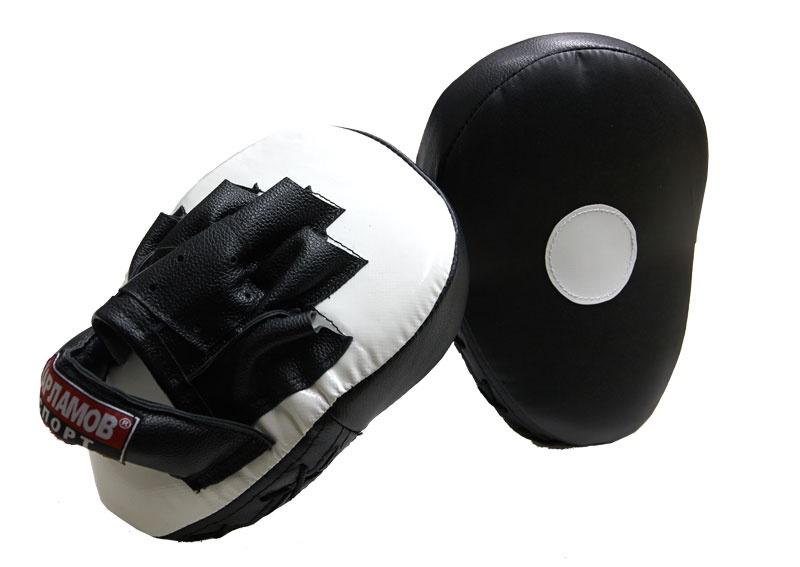 Лапы боксерские Харламов-Спорт Лапы гнутые большие (пара), белый, черный щит eskhata лапы боксерские любительские