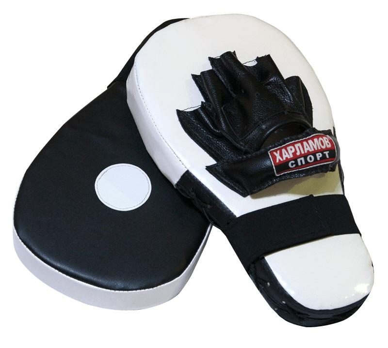 Лапы боксерские Харламов-Спорт Лапы удлиненные (пара), белый, черный лапы для восточных единоборств outshock боксерские лапы 100 изогнутые