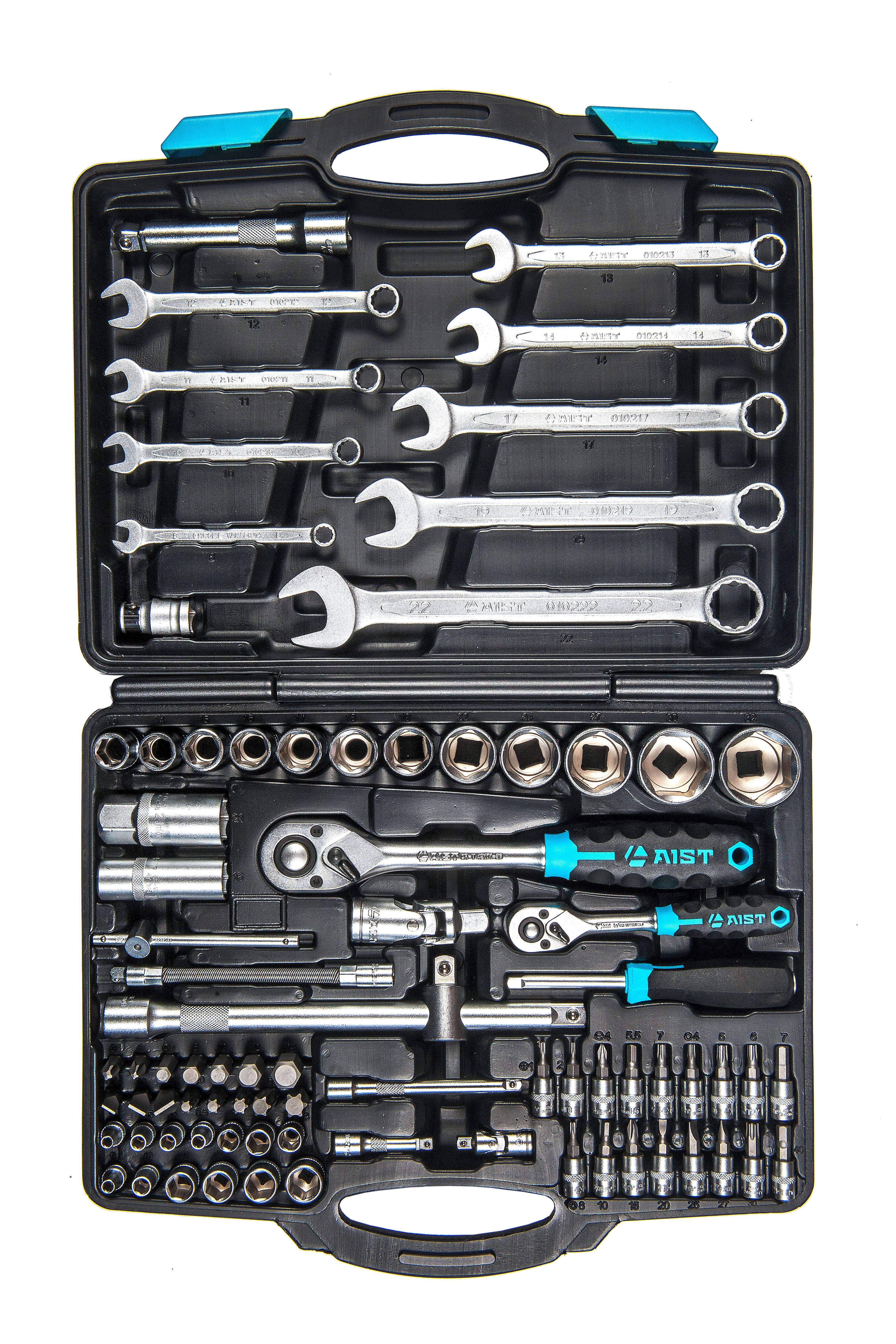 Набор инструментов AIST Набор инструмента 82 пр., черный бита aist 1323025tt torx с отверстием под штифт тt25 10мм l 30мм s2 1 шт