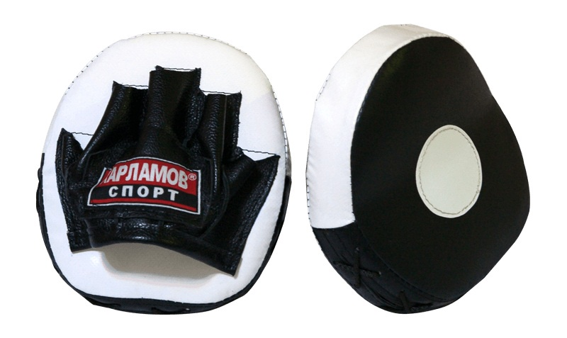 Лапы боксерские Харламов-Спорт Лапы блинчик гнутый (пара), белый, черный лапы для восточных единоборств outshock боксерские лапы 100 изогнутые