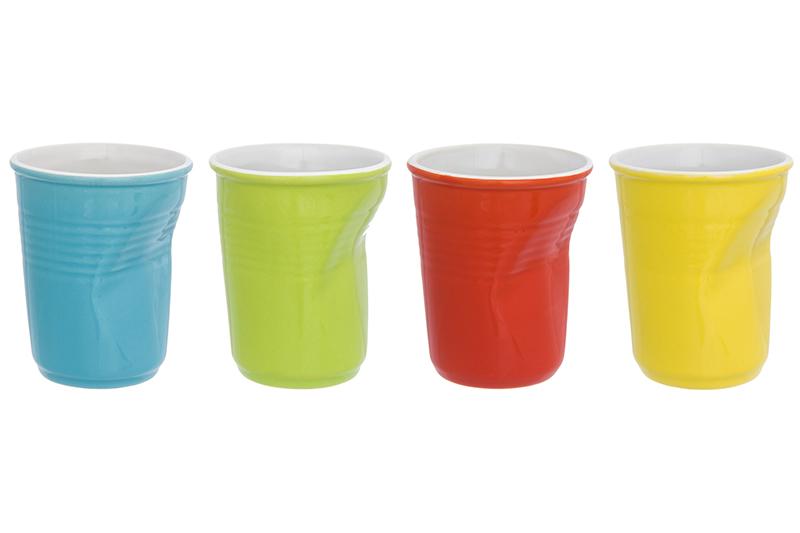Фото - Стаканы Elan Gallery Разноцветные мятые 7,5*7,5*9 см 200 мл (4 штуки) набор стаканов elan gallery разноцветные 4 предмета