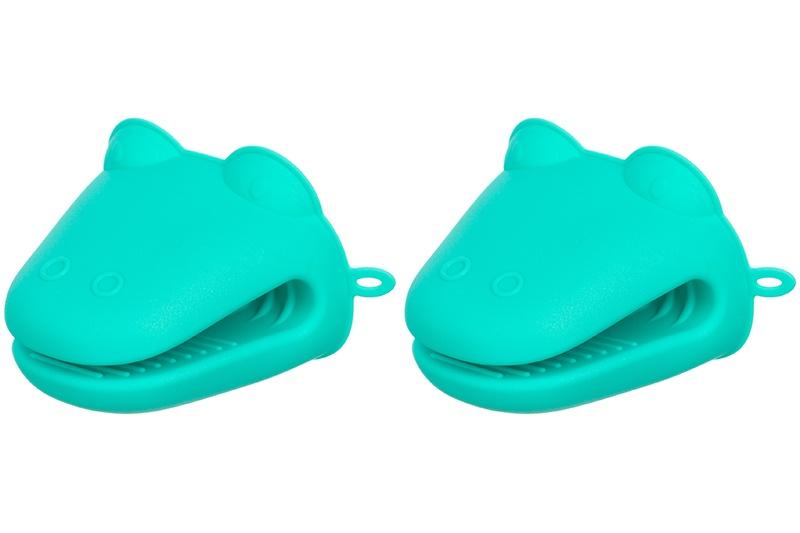"""Прихватка - лягушка силиконовая """"Бирюзовая"""" 9*12*8 см., термостойкая упаковка - картонный хедер (2 штуки)"""