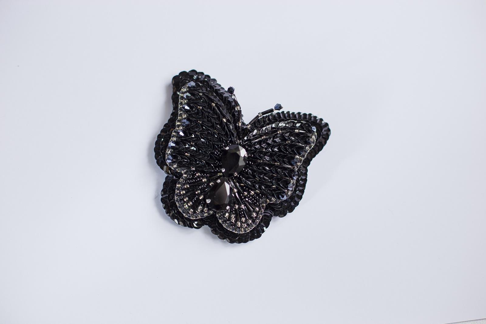 Брошь бижутерная Vivacase Butterfly Moth, Искусственная кожа, Бисер, Стразы, черный