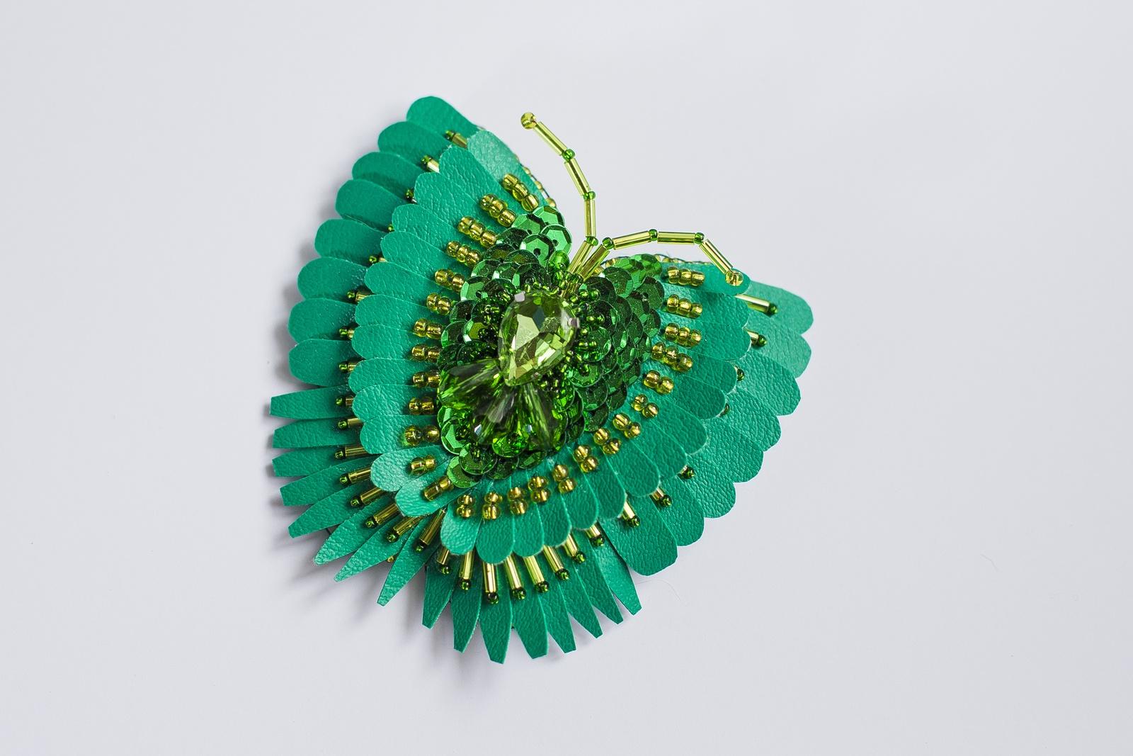 Брошь бижутерная Vivacase Butterfly Palinuris, Искусственная кожа, Бисер, Стразы, зеленый