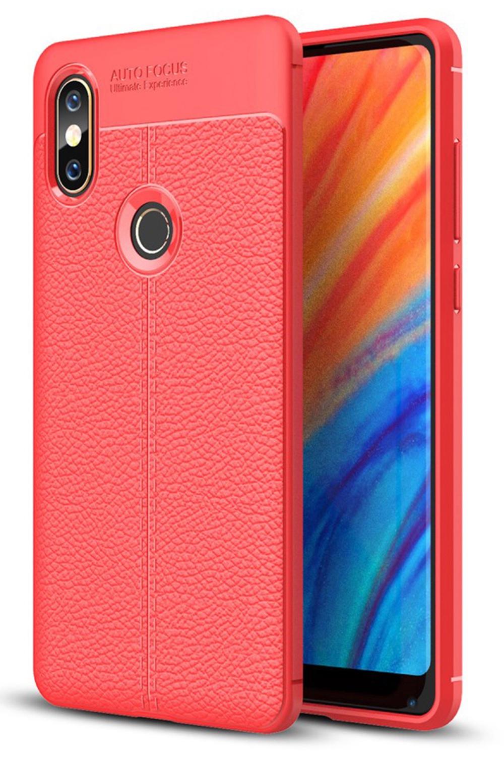 Чехол для сотового телефона Мобильная Мода Xiaomi Mi Mix 2s Накладка силиконовая противоударная со структрой под кожу, красный