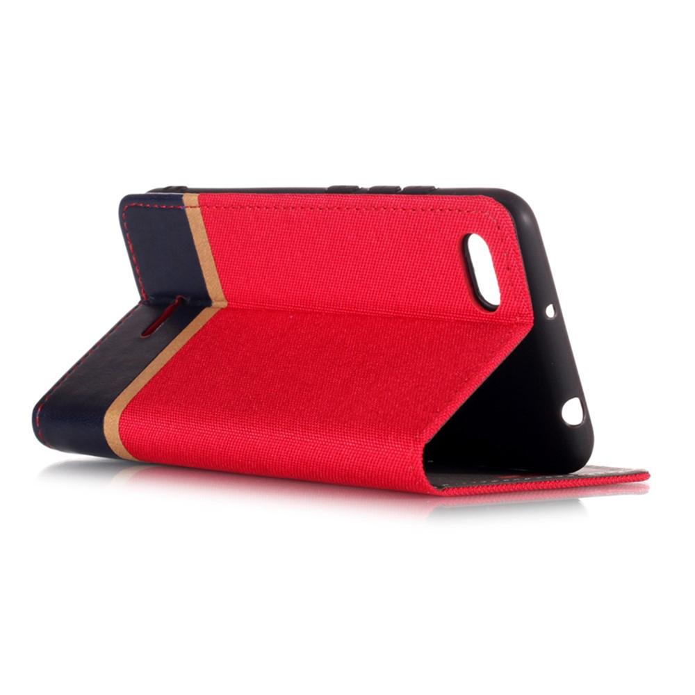 Чехол для сотового телефона Мобильная Мода Xiaomi Redmi 6A Чехол-книжка силиконовая с отделом для карт Half, красный