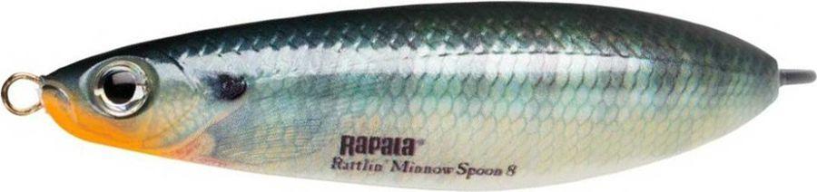 Блесна-незацепляйка Rapala Rattlin' Minnow Spoon, RMSR08-BG, 8 см, 16 г блесна незацепляйка rapala rattlin minnow spoon rmsr08 gsu 8 см 16 г