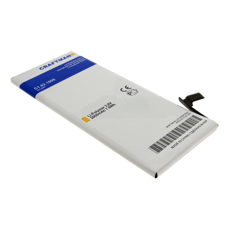 Аккумулятор для телефона Craftmann для Apple iPhone 6 с увеличенной ёмкостью до 2000 mAh (616-0807) аккумулятор для телефона craftmann для apple iphone 7 616 00259