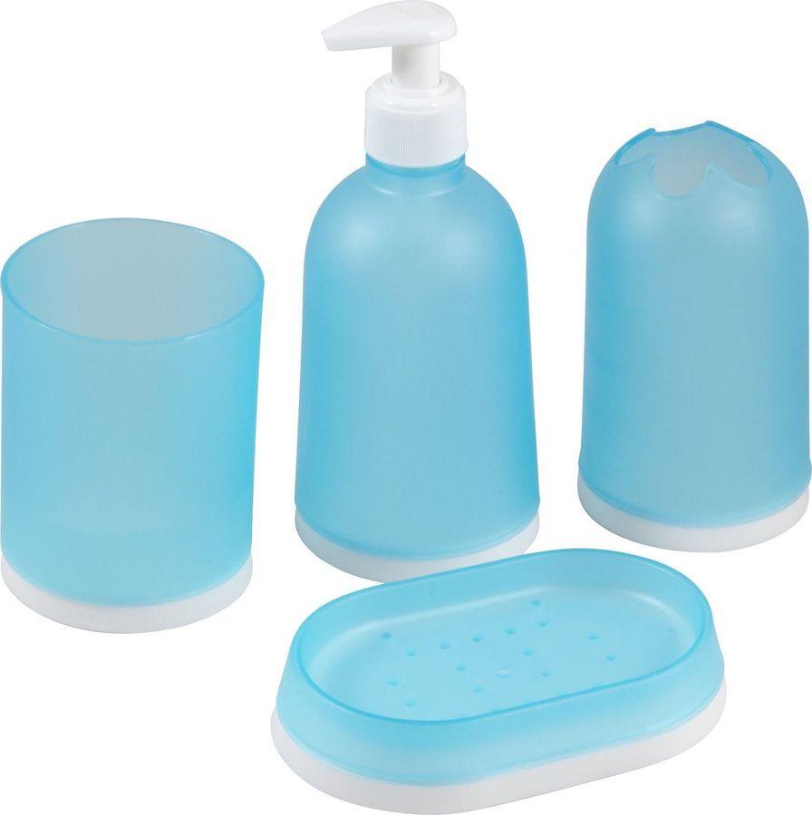 цена на Набор аксессуаров для ванной комнаты Рыжий кот, 985897, голубой, 17 х 7,5 х 7,5 см