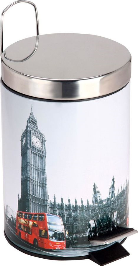 Контейнер для мусора в ванной Рыжий кот Лондон, круглый, 310446, мультиколор, 3 л