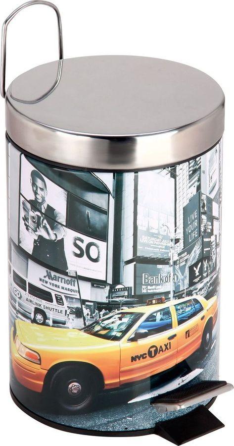 Контейнер для мусора в ванной Рыжий кот Нью-Йорк, круглый, 310448, мультиколор, 3 л