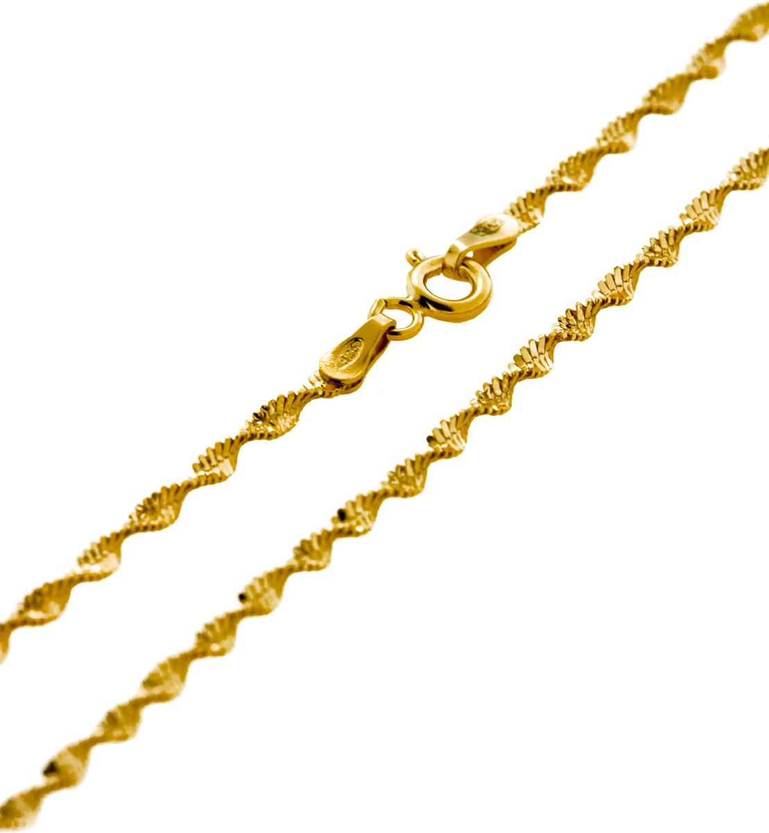 Цепочка Серебряная Венеция Стружка фантазийная, серебро 925, 50 см, 3676Z020LСереброЦепочка Стружка фантазийная с алмазной обработкой с одной стороны (сечение 020) из серебра 925 пробы, покрытая двойным слоем золота. Цепь Серебряная Венеция с двойным золочением из основного слоя золота в 24 карата (999 пробы) и верхнего (подцвечивающего) слоя золота 585 пробы. Выполнена в виде лихо закрученной спирали. Украшение идеально подойдет и на каждый день, и для вечернего выхода в великолепном платье. Оно обладают четкими контурами соединения элементов украшения, а Алмазная огранка по специальной технологии 8-ми граней позволяет поверхности цепочки лучше блестеть. Цепочка может носиться и как самостоятельное украшение, и в дополнение с кулоном. Серебряные цепи с двойным золочением внешне почти не отличаются от золотых, прекрасно сочетаются с золотыми украшениями, но более доступны по цене. Такое украшение практично и модно. Цепочка произведена в Италии с использованием самого передового оборудования и современных технологий, что несомненно говорит о её качестве.