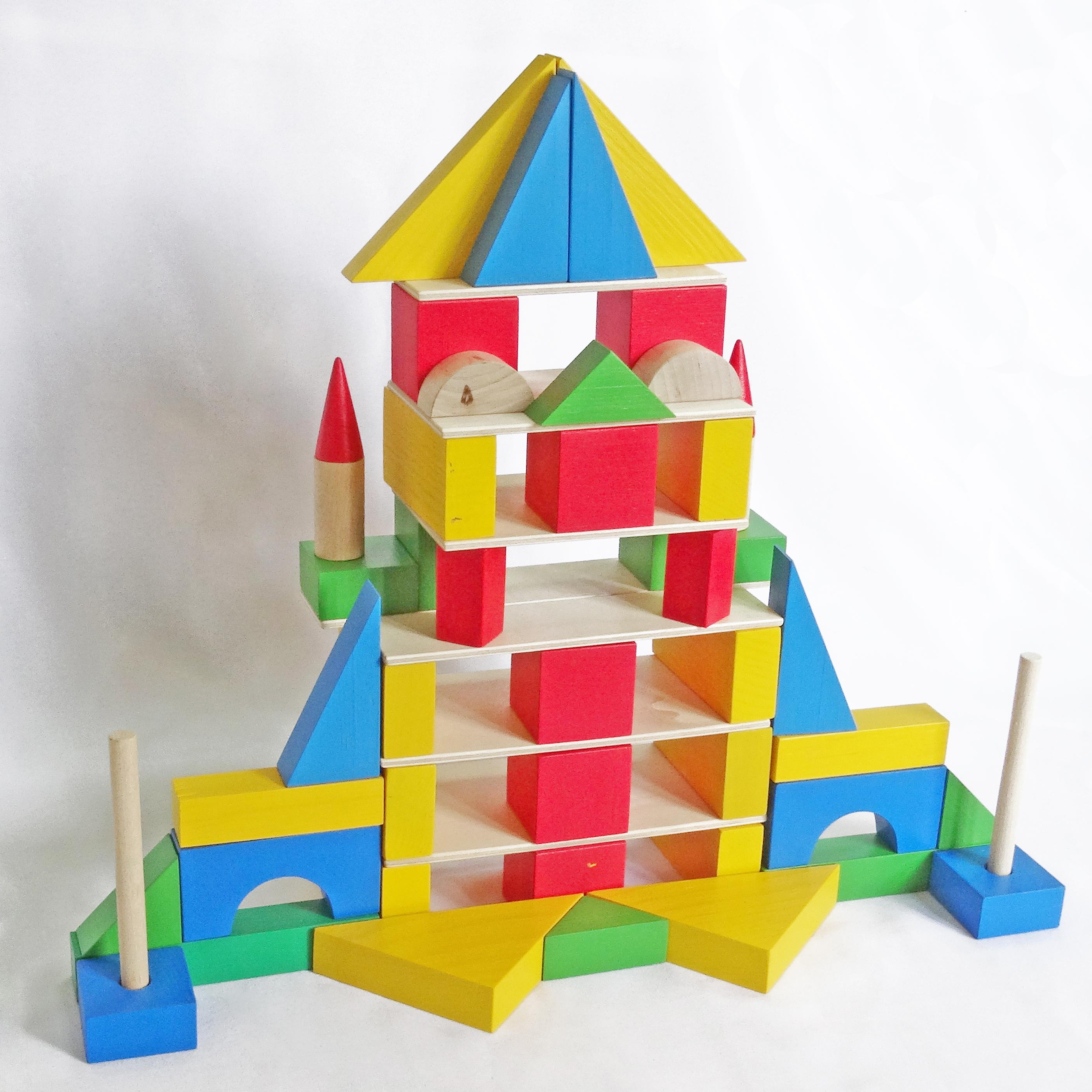 Кубики Конструктор детский настольный из дерева СТРОИТЕЛЬ – 55 элементов красный, синий, желтый, зеленый, бежевый