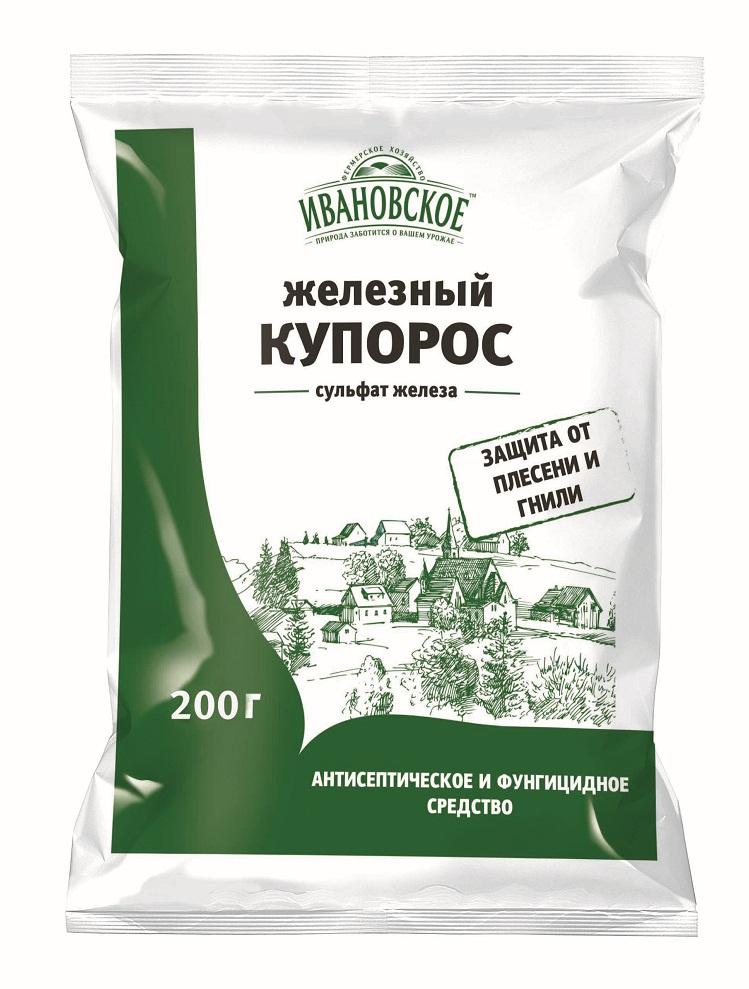 Удобрение Фермерское хозяйство Ивановское Железный купорос 200 г удобрение фермерское хозяйство ивановское для рассады 50г коричневый