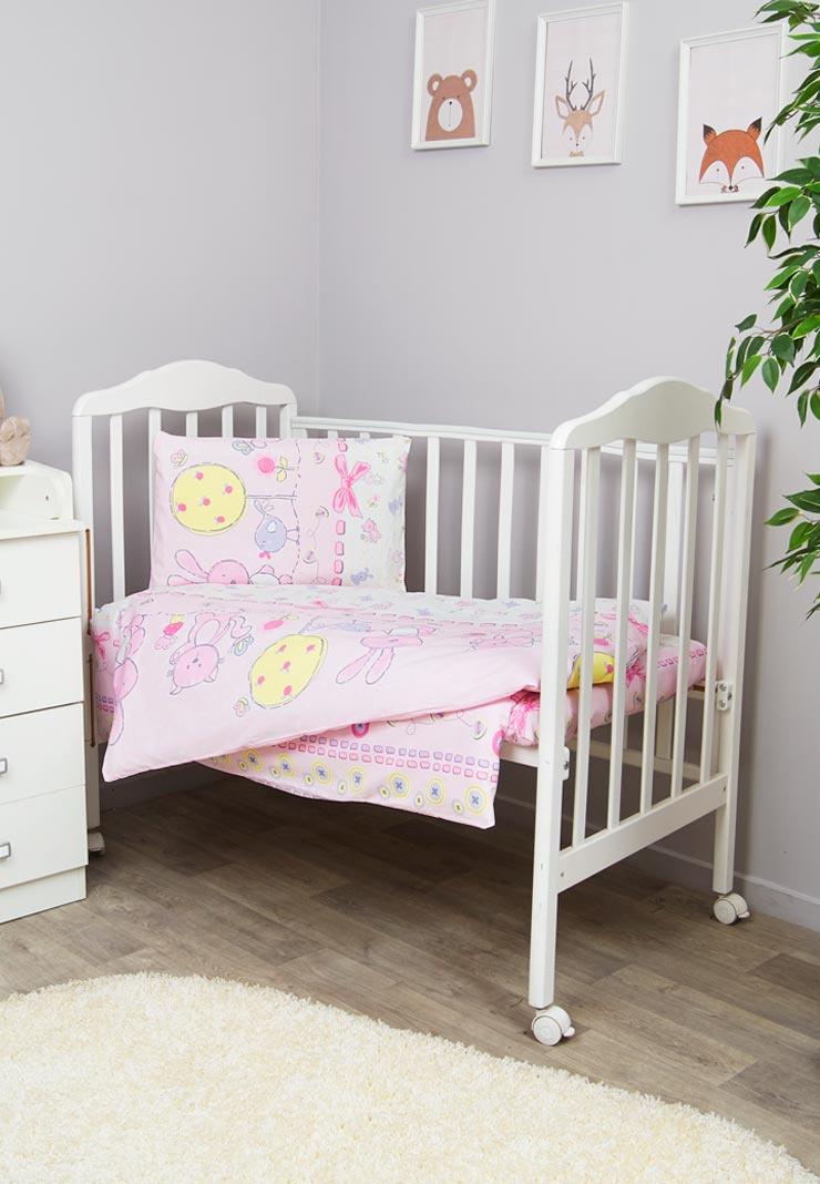 Комплект белья для новорожденных Сонный гномик Акварель, розовый комплект постельного белья сонный гномик пушистик розовый 710 2б
