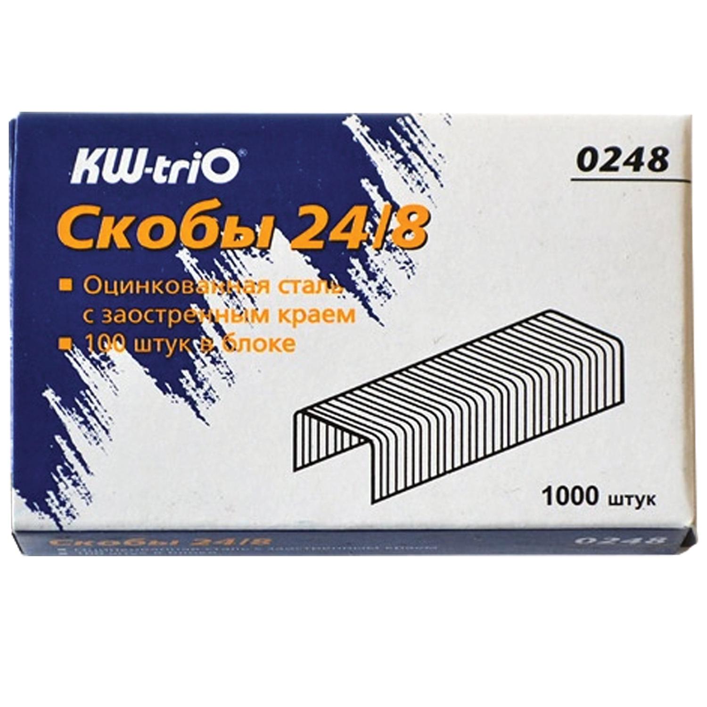 Скобы для степлера KW-trio № 24/8, 1000 штук, в картонной коробке, до 50 листов цена 2017