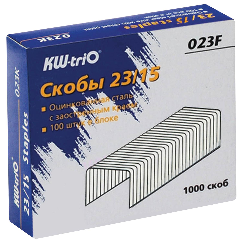Скобы для степлера KW-trio № 23/15, 1000 штук, в картонной коробке, до 120 листов скобы для степлера 23 15 kw trio 023f упаковка 1000 шт