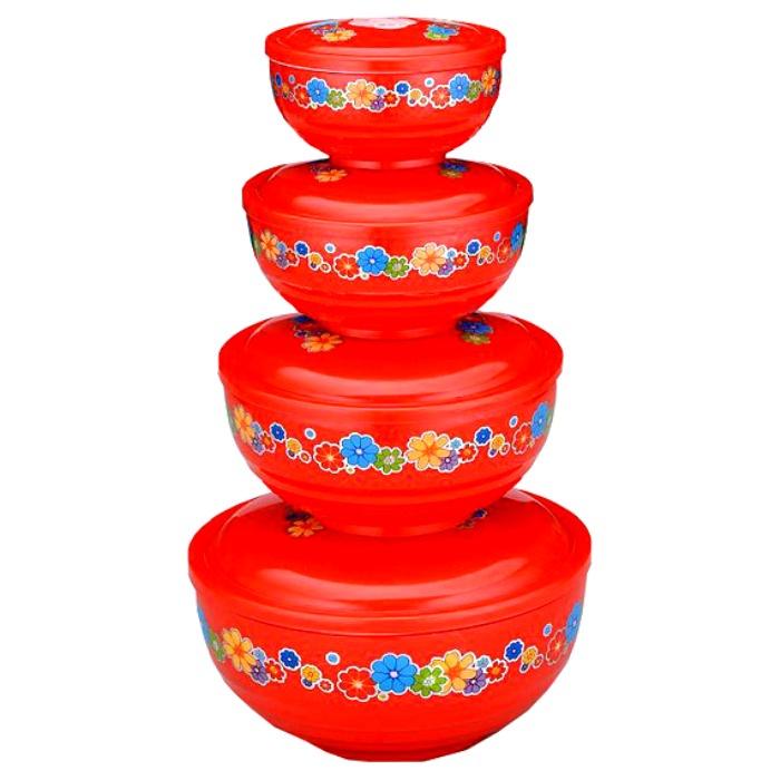 Набор емкостей Gelberk ЦБ-00005608, красный неактивный набор емкостей для приготовления и хранения продуктов с крышками голубой муар 18 12 7 14 9 5 см цв у