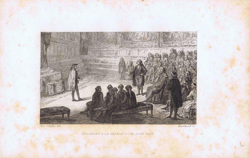 Гравюра Огюст Бланшар Великая французская революция. Мирабо на заседании 23 июня 1789 года. Офорт. Франция, Париж, 1834 год теренс бланшар terence blanchard flow 2 lp