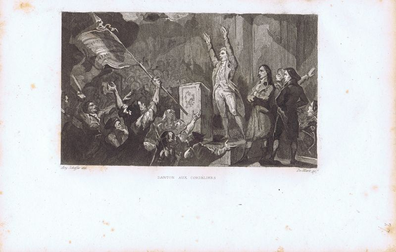Гравюра Йоханн де Маре Великая французская революция. Дантон в Кордельерах. Офорт. Франция, Париж, 1834 год