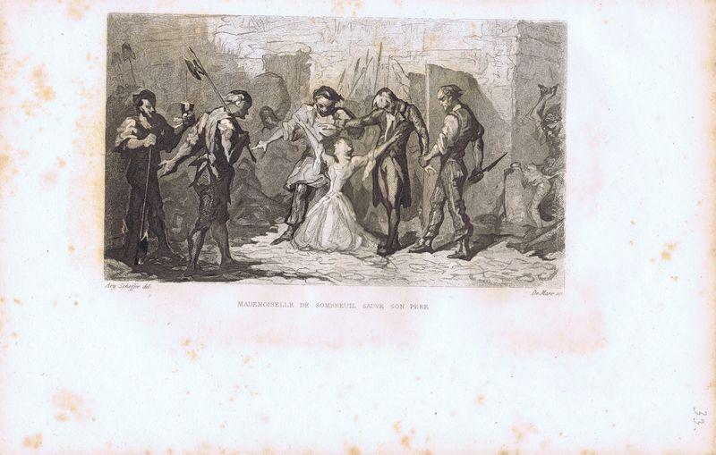 Гравюра Йоханн де Маре Великая французская революция. Мадемуазель де Сомброй защищает отца. Офорт. Франция, Париж, 1834 год