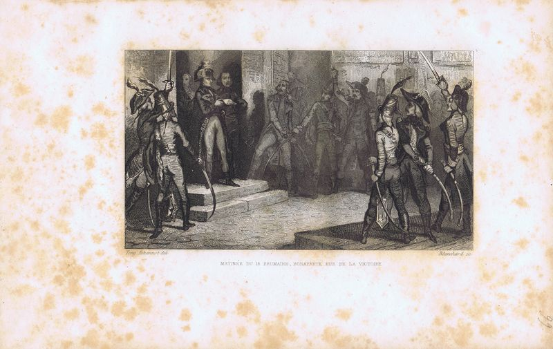 Гравюра Огюст Бланшар Великая французская революция. Наполеон Бонапарт утром 18 брюмера на улице Виктуар. Офорт. Франция, Париж, 1834 год теренс бланшар terence blanchard flow 2 lp