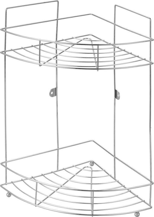 Полка для ванной комнаты Рыжий кот Классика, угловая, двухярусная, 4723, серебристый, 38,2 х 22,5 х 22,5 см полка metaltex onda safe fix 2 уровневая угловая цвет серый 22 х 22 х 35 см