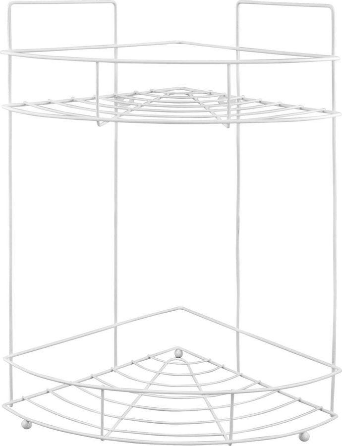 Полка для ванной комнаты Рыжий кот Классика, угловая, двухярусная, 4724, серебристый, 39,4 х 31 х 22,5 см полка metaltex onda safe fix 2 уровневая угловая цвет серый 22 х 22 х 35 см