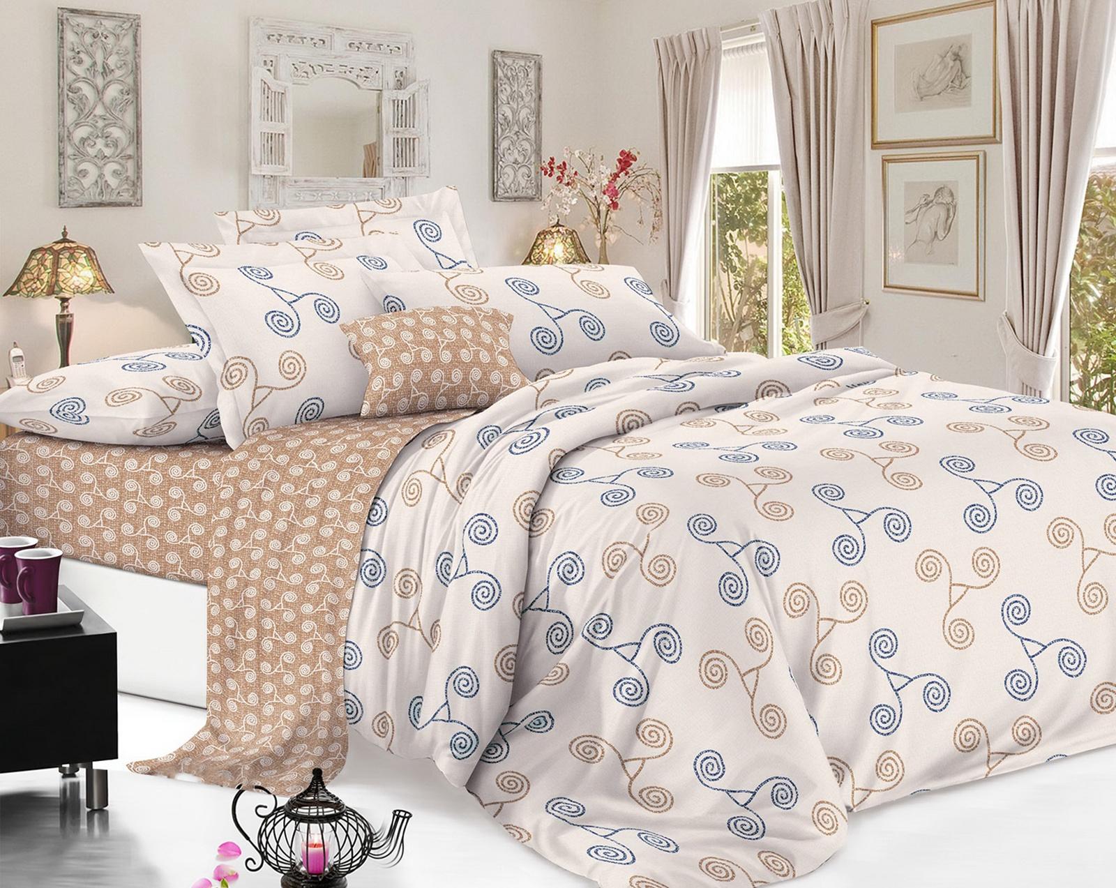 Комплект постельного белья ИМАТЕКС 1731-2е-70х70, светло-коричневый, светло-бежевый, темно-синий bravo м251 12 04 1731 1 коллаж 2е