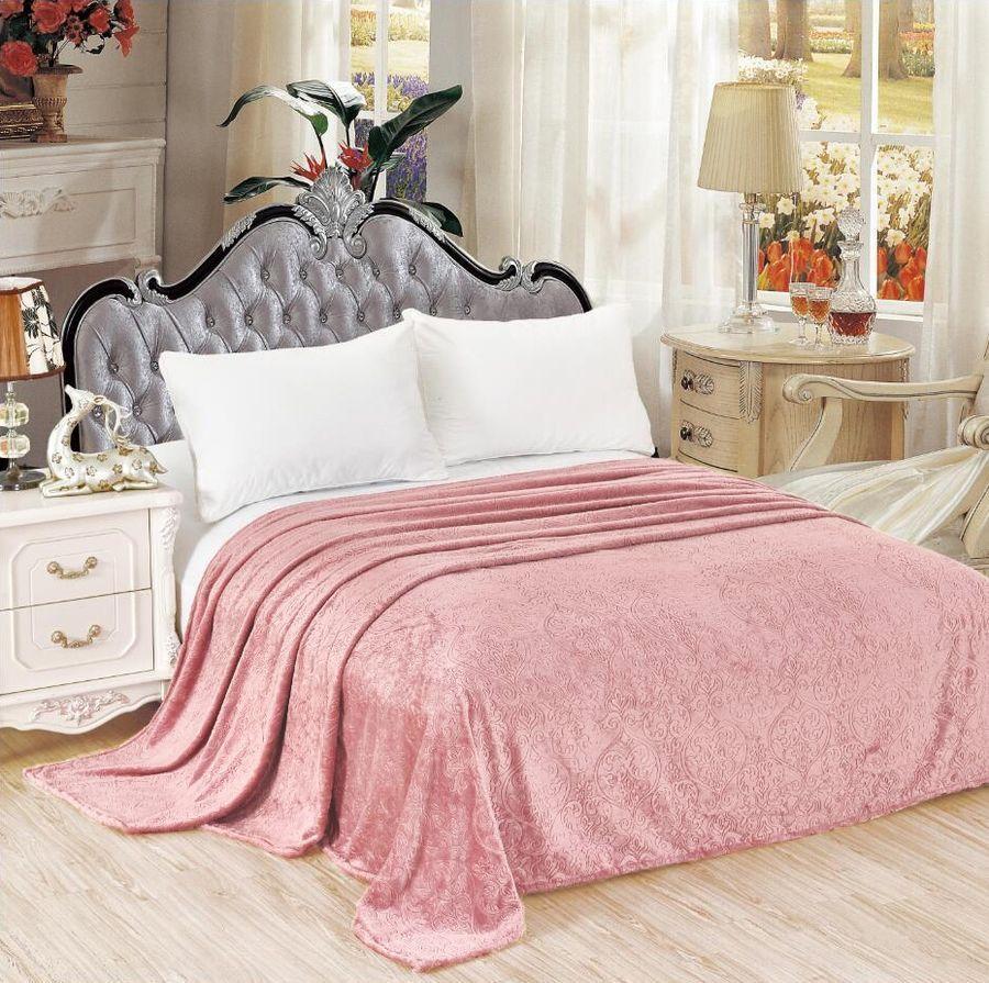 Плед ЭГО Версаль, розовый, 150 х 200 см простыня на резинке эго цвет розовый 200 х 200 см