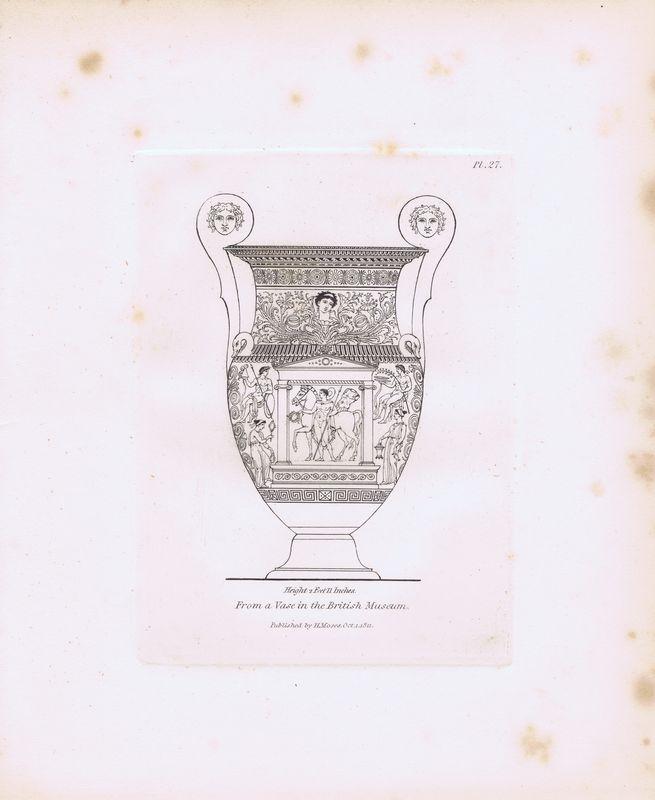 Гравюра Генри Мозес Древняя (античная) ваза из Британского музея 14. Орнамент. Офорт. Англия, Лондон, 1838 год