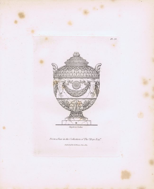 Гравюра Генри Мозес Древняя (античная) ваза 4. Орнамент. Из коллекции Томаса Хоупа, эсквайра. Офорт. Англия, Лондон, 1838 год