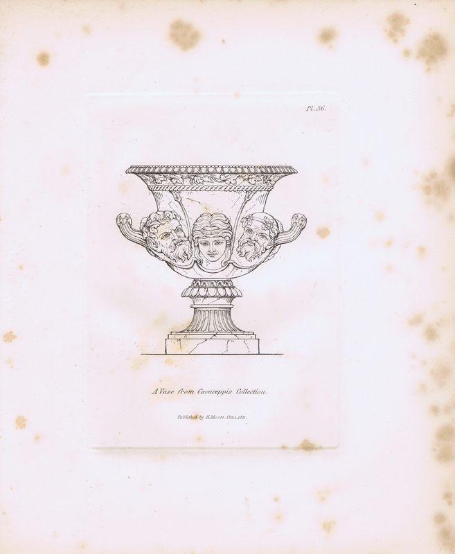Гравюра Генри Мозес Древняя (античная) ваза из коллекции Кавачеппи. Орнамент. Офорт. Англия, Лондон, 1838 год19-014-010Автор(-ы): Мозес, Генри (Moses, Henry).Место издания: Англия, ЛондонГод: 1838Размер листа: 18 х 22 см.Состояние хорошее, бумага плотная, пятна.