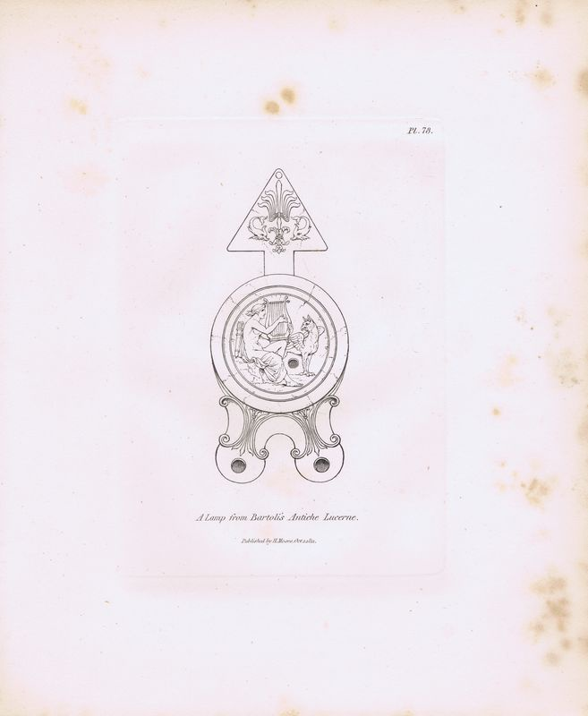 Гравюра Генри Мозес Древняя (античная) лампа с гравюры Бартоли из издания `Древние лампы`. Орнамент. Офорт. Англия, Лондон, 1838 год