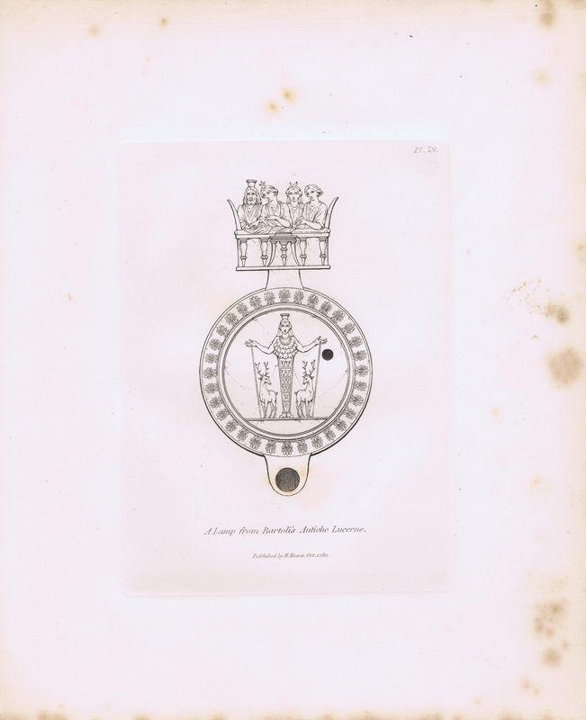 Гравюра Генри Мозес Древняя (античная) лампа с гравюры Бартоли из издания `Древние лампы` 2. Орнамент. Офорт. Англия, Лондон, 1838 год