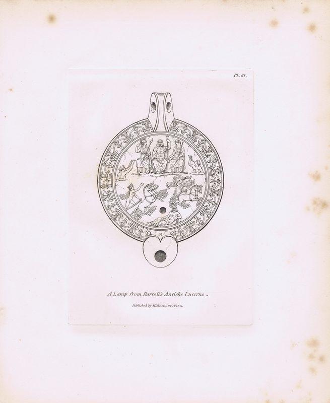 Гравюра Генри Мозес Древняя (античная) лампа с гравюры Бартоли из издания `Древние лампы` 4. Орнамент. Офорт. Англия, Лондон, 1838 год