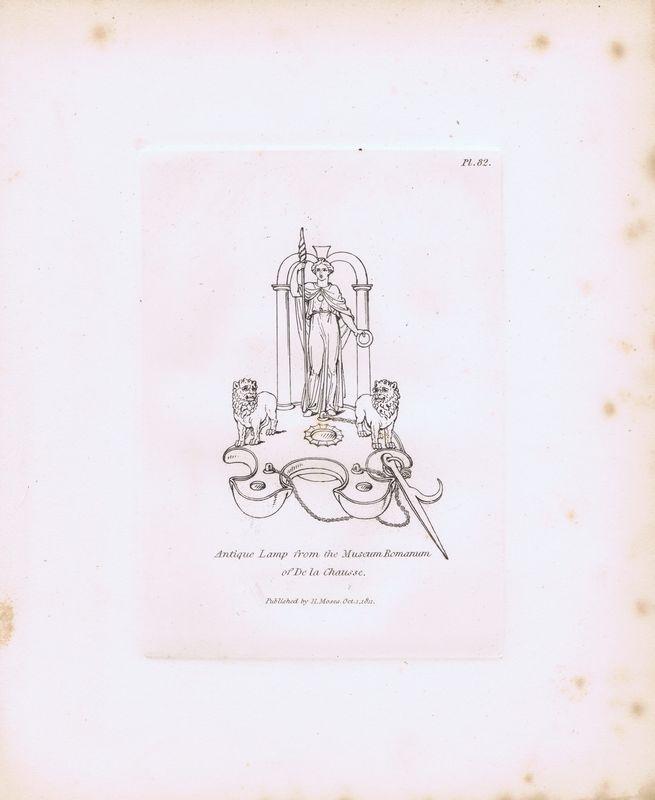Гравюра Генри Мозес Древняя (античная) лампа из римского музея. Орнамент. Офорт. Англия, Лондон, 1838 год