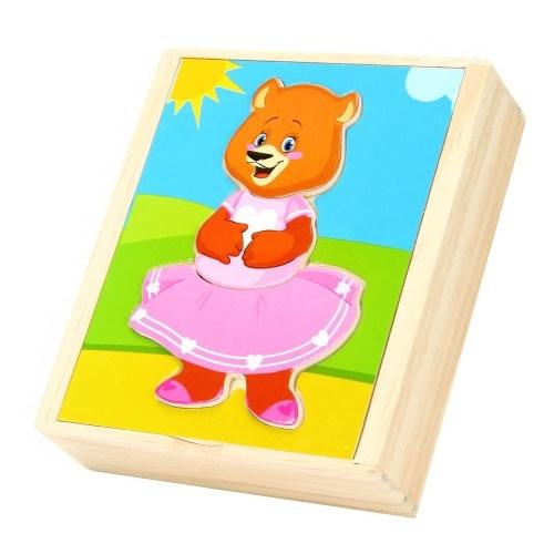 Развивающая игрушка Мир деревянных игрушек Пазл Медвежонок катя бежевый набор для развития моторики мир деревянных игрушек д189