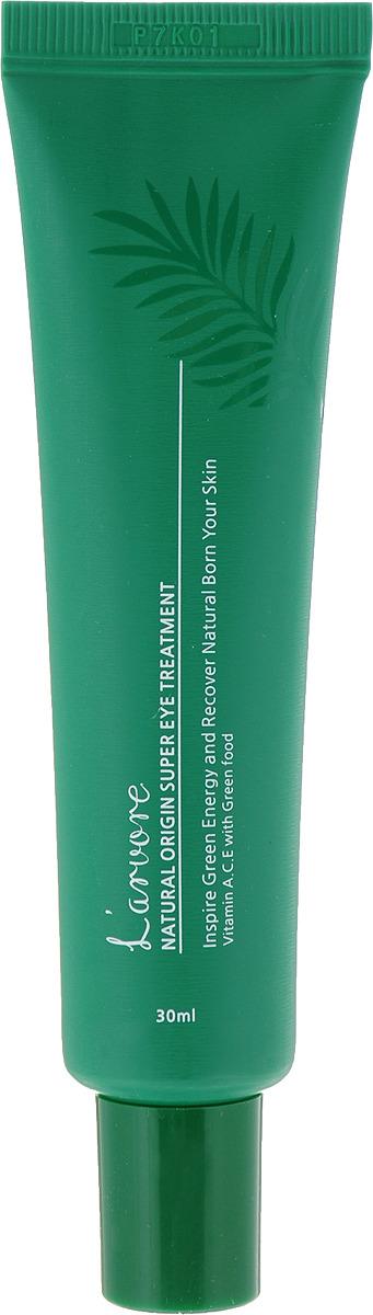 Крем для век LArvore Natural Origin Super Eye Treatment, интенсивный, 30 млLA761187Интенсивный крем для ухода за кожей вокруг глаз послужит незаменимым средством от морщин, усталости, темных кругов под глазами и увлажняющим кожу барьером благодаря комплексу натуральных природных компонентов Super Food 6 (вытяжка из морской горчицы, семян зеленого чая, спирулины, ростков пшеницы, брокколи и авокадо), а так же таким активным компонентам, как ниацинамид (витамин В3) и аденозин. Ниацинамид - мощный компонент для клеточного обновления кожи, повышает ее эластичность и барьерную функцию, осветляет и удаляет возрастные пятна и выравнивает текстуру и рельеф кожи, способствует стимуляции синтеза коллагена и помогает снизить трансэпидермальную потерю влаги из кожи, смягчает, увлажняет, сужает поры, успокаивает, улучшает микроциркуляцию крови. Аденозин способствует активному синтезу коллагена и эластина в коже, сокращению количества и выраженности морщин, замедляя процессы возрастных изменений кожи. Крем также имеет противовоспалительное, антиоксидантное воздействие, интенсивно восстанавливает эпидермис – раны и трещины заживают в ускоренном темпе.