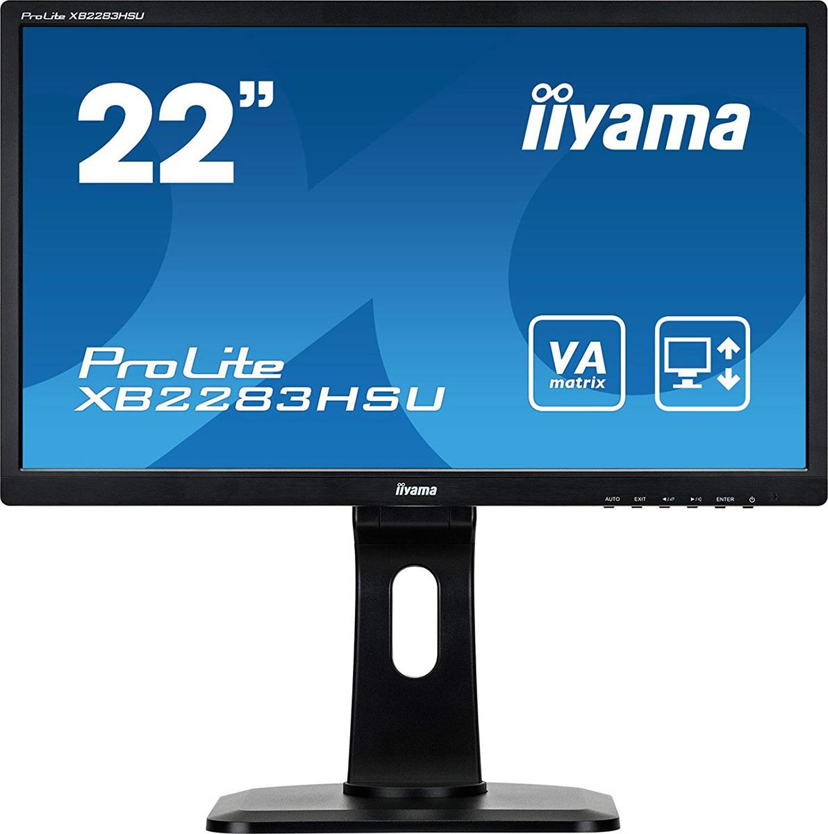 Монитор Iiyama 21.5 ProLite XB2283HSU-B1DP, черный монитор iiyama b2483hsu b1dp