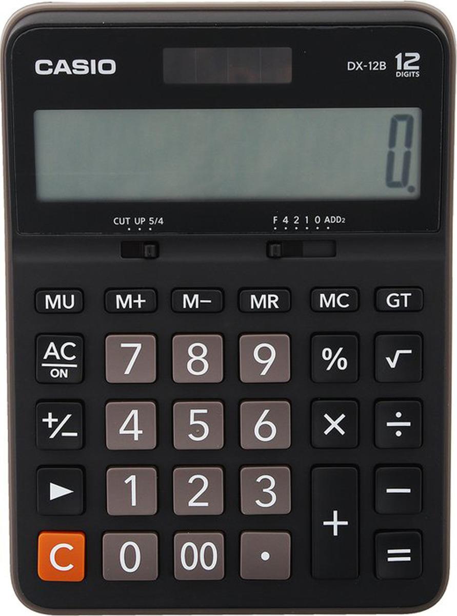 Калькулятор настольный Casio, черный, коричневый, DX-12B калькулятор casio dx 12b