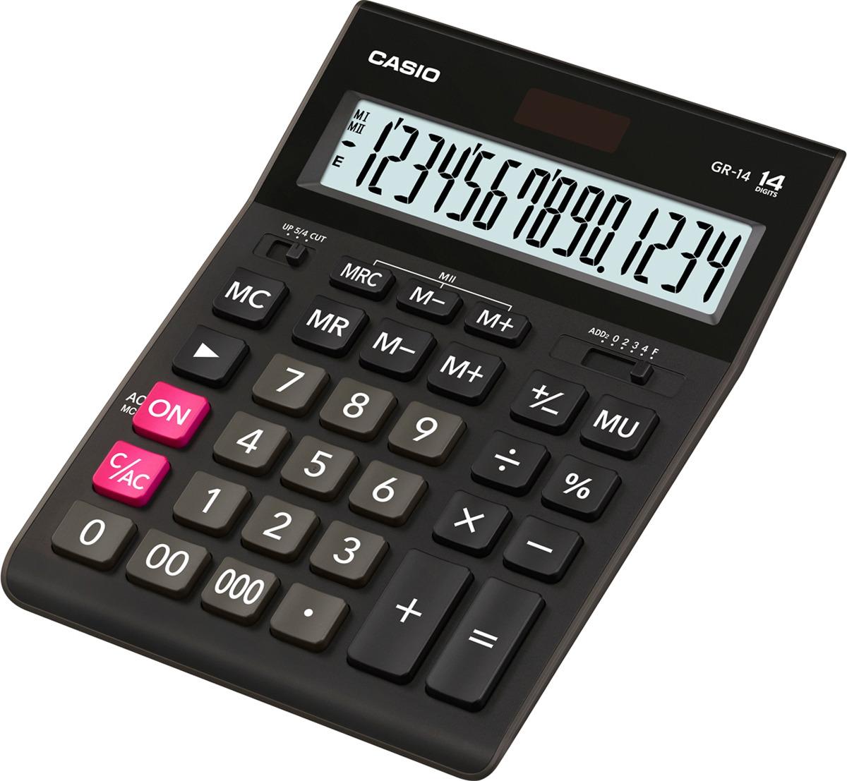 Калькулятор настольный Casio, черный, GR-14T-W-EP калькулятор настольный casio gr 12c lb голубой 12 разр
